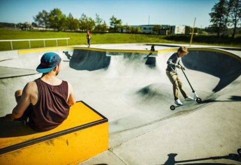 På billedet ses Rabalder Parken - Musicons aktivitetspark der både bruges til skate, oplevelser og som regnvandsanlæg. Foto: Kim Wendt.