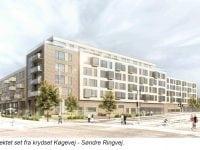 120 boliger + butikker på hjørnet af Søndre Ringvej og Køgevej